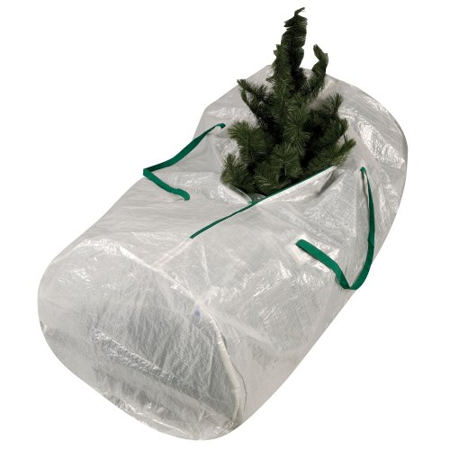 Household Essentials 6032 MightyStor Artificial Christmas Tree Storage Bag with Handles, White with Green Trim