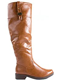 Forever Women's Moto-14 Faux Leather Riding Boots with Extended Shaft