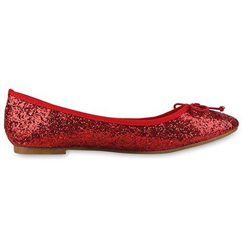 Napolifashion Klassische Damen Ballerinas Glitzer Schuhe Flats
