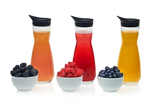 Libbey Make Your Own Mimosa Bar Carafe and Garnish Bowl Set, 3-32 ounce Glass Carafes with Lids, 3-9 ounce Ceramic Garnish Bowls, Lead-Free ()