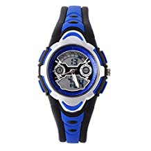 FSX-212G Kids Boys Sports Analog Digital Dual Time Water Resistant Wrist Watches with Back Light, Alarm, Stopwatch, Chronograph, Chime, Calendar, Date and Day, 12/24 Hours
