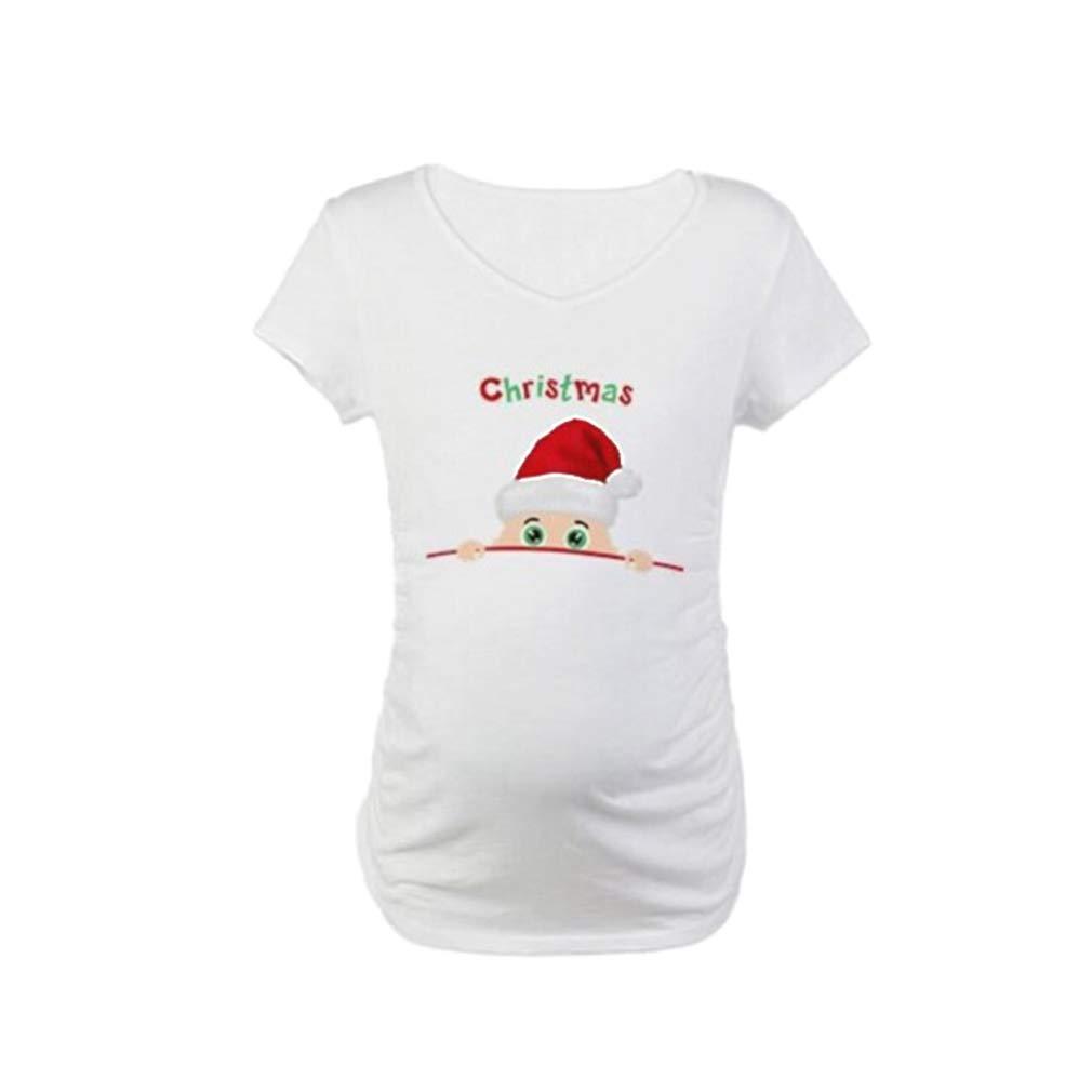 WEIMEITE Maglietta Annuncio Gravidanza Natale Manicotto maternità Sveglia Divertente maternità