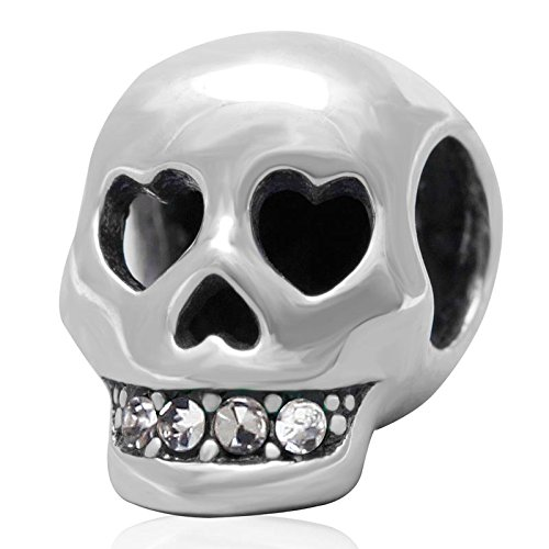 Ollia Jewelry 925 Sterling Silver Beads Heart Shape Eyes Skull Head Skulls Charm with White Austrian Crystals Studded Teeth Rebirth Charm Talisman Amulet Charms