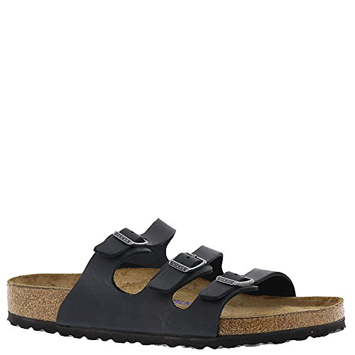 Birkenstock Women's Florida Soft Footbed Black Oiled Leather Sandal 39 (US Women's 8-8.5)