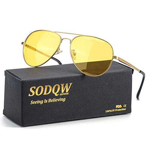 SODQW Aviator Night Driving Glasses, Night-vision Goggles Anti Glare Polarized Yellow Lens, Fashion Safety HD Sight Glasses (Gold Frame/Yellow Night Driving Glasses) (Best Night Vision Goggles For The Money)