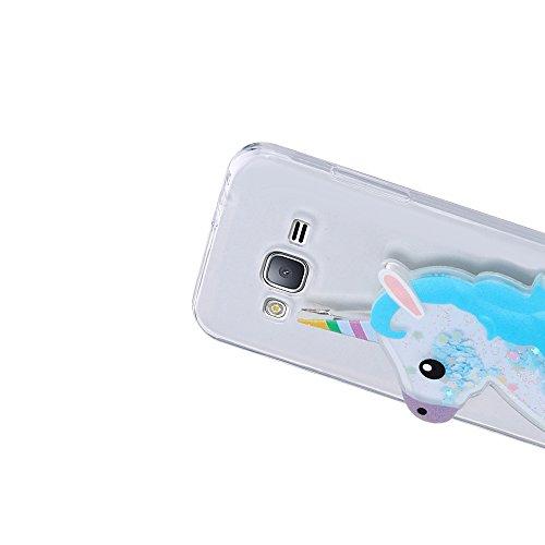 Funda Galaxy J3 2016, Caselover 3D Bling Silicona TPU Unicornio Carcasas para Samsung Galaxy J3 2016 J310 Glitter Líquido Arena Movediza Protección Caso Sparkle Brillar Cristal Tapa Case Suave Transpa Unicornio Azul