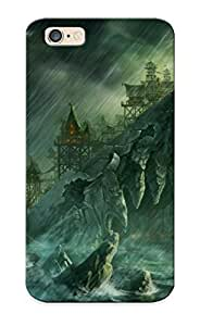 Protection Case For Iphone 6 / Case Cover For Iphone(skulls Rain Storm Ships Artwork Drawings Rock Islands Desolate Beacon )