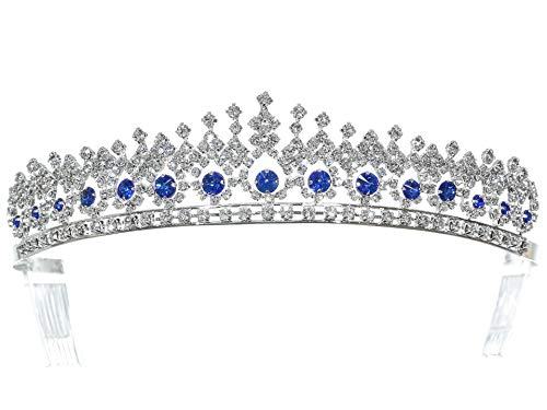 SAMKY Rhinestone Crystal Pageant Bridal Tiara Crown - Blue Crystals Silver Plated T1177
