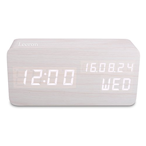 Wooden LED Digital Alarm Clock, Displays Time Date Week And Temperature, Cube Wood-shaped Sound Control Desk Alarm Clock for Kid, Home, Office, Daily Life, Heavy Sleepers (White) (Digital Clock Small Plug)