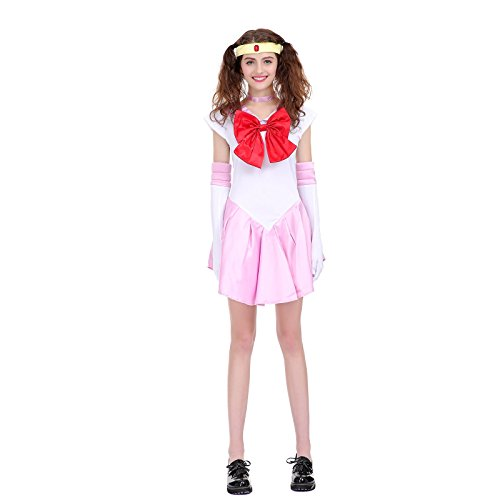 Angelaicos Womens Color Block Bowknots Costume Dress (M, Pink) ()