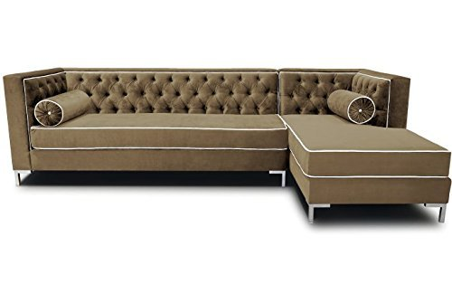 Decenni Tobias 8 Foot Tufted Right Arm Chaise Facing Dove Piping Sectional Sonoma Taupe