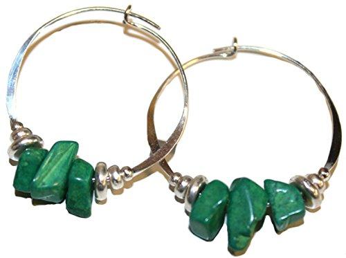 Bali Sky Large Sterling Silver Filled Green Bead Hoop Earrings HL015 (Bali Sterling Silver Spacer Beads)