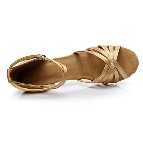 Rumba Manadlian Couleur À Latine Danse Femmes Bal De Hauts Chaussures Valse Salle Mode Kaki Sandales Talons Chaussons Salsa xq0r0w1n4f