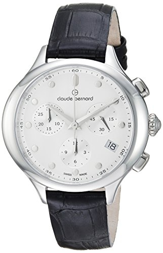 Claude Bernard Women's 'Code Chronograph' Swiss Quartz Stainless Steel and Leather Dress Watch, Color:Black (Model: 10232 3 AIN)