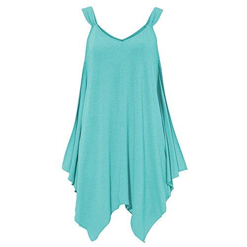 Women Summer Casual Sleeveless Vest V Neck T Shirt Strapless Cami Top Tank Blouse Blue