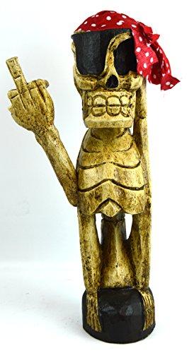 Bad Rude Social Finger Skeleton Drunk Tiki Skull Bones Blood Knife Hand Carved Wood Sculpture Bar (Skeleton Carving Art)