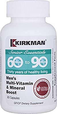 Kirkman 60 to 90 Men's Multi-Vitamin and Mineral Boost || 60 Vegetarian Capsules || Provides comprehensive vitamin and mineral support for senior men || Gluten and Casein Free