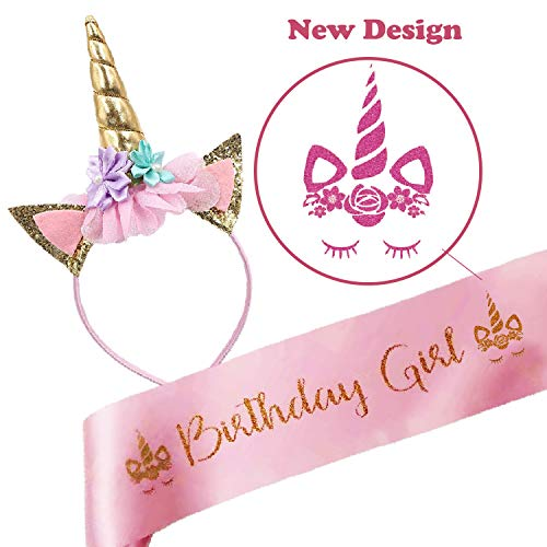Bestus Unicorn Birthday Girl Set of Gold Glitter Unicorn Headband and Pink Satin Sash |Unicorn Party Supplies, Favors & Decorations| New Design Unicorn Horn with flowers and eyelashes -