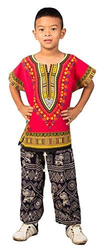 Lofbaz Unisex Child Traditional African Printed Dashiki Magenta 10-11 - African The Boy