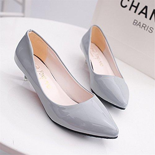 femeninos Gray los de señalaron 2017 con cuero zapatos un pequeños zapatos grosor color de negros profesionales LIVY verano solo de zapatos rosa modelos de wF1ggX