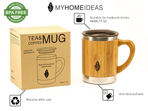 Amazon Com Myhomeideas Stainless Steel Bamboo Mug With Lid And