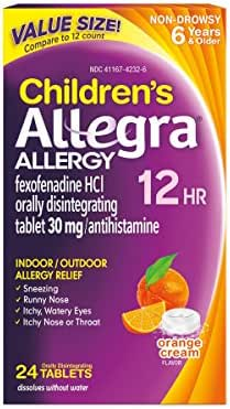 Allegra Children's Allergy 12 Hour Orally Disintegrating Tablets Orange Cream Flavor, 24 Tablets, Long-Lasting Fast-Acting Antihistamine for Children 6 and Up, Dissolve on The Tongue Without Water