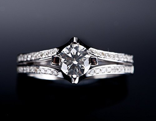 0.85 Carat (ctw) 14k white gold Round White Diamond art deco Ladies Promise (0.85 Ct Ladies Diamond)