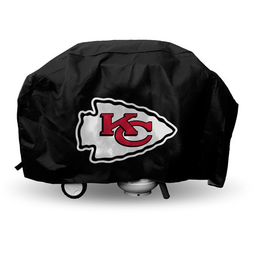 JA 21 X 35 X 68 Inches NFL Chiefs Grill Cover, Football Themed Weather Resistant Vinyl Gas Barbeque Smoker Protector, Team Logo Fan Merchandise Athletic Team Spirit Fan, Red White ()