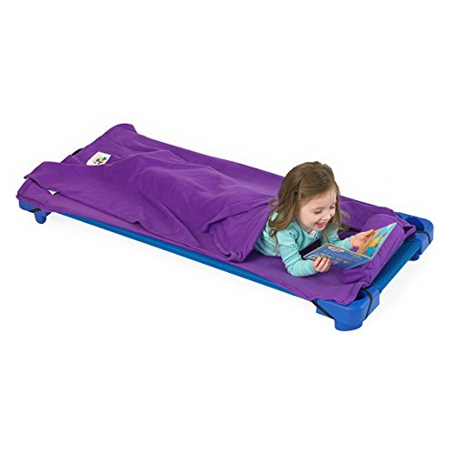 ROLLEE POLLEE Preschool and Daycare Roll Up Napping Blanket with Attached Pillow, Super Soft with Elastic Straps for Securing onto Standard Mats and Cots (Purple)
