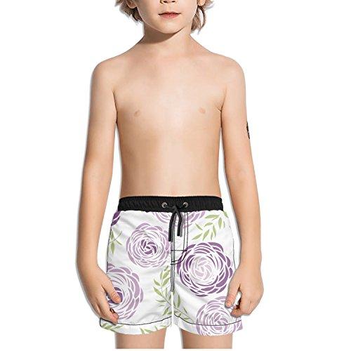 Ouxioaz Boys' Swim Trunk Purple Flowers Leaves Beach Board Shorts by Ouxioaz