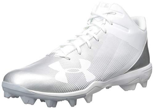 Under Armour Men's Leadoff Mid RM Baseball Shoe, White (100)/White, 10.5