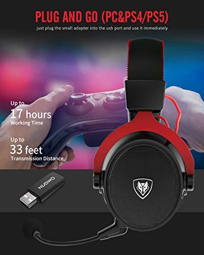 NUBWO G07 Wireless Gaming Headset for PC, PS4, PS5,Gaming Headphones with Fixed Mic, 2.4GHz Ultra-Low Latency,with 3D Surround Sound,Noise Cancelling MIC,Soft Memory Earmuffs (Xbox One in Wired Mode