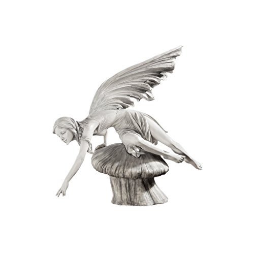 (Design Toscano The Daydream Fairy Garden Statue, 18 Inch, Polyresin, Antique Stone)