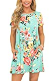 Womens Loose Flowy Short Sleeve Swing Pocket Floral Printed Casual Bohemian T Shirt Dress Green M