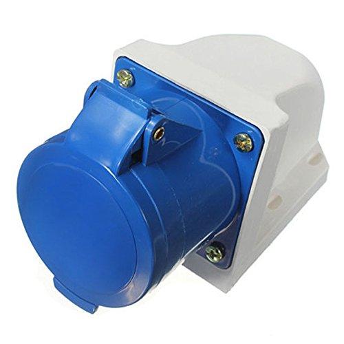 Plug & Wall Mount Socket - TOOGOO(R) 32A AMP 3 Pin Blue Plug & Wall Mount Socket Waterproof Caravans IP44 Lead