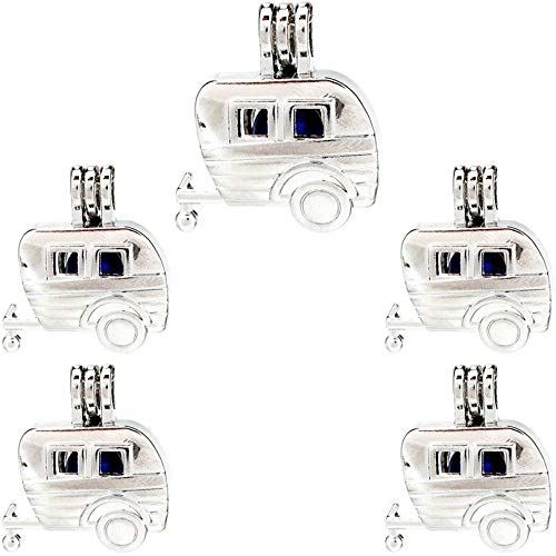 (5 Pack) Silver Carriage Beads Cage Oil Diffuser Pearl Locket Pendant K916