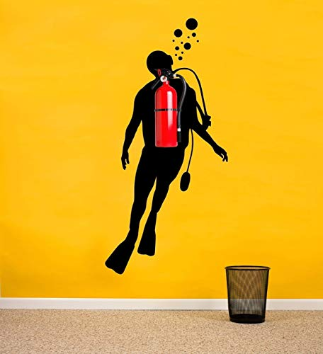 Scuba diver silhouette wall decal | Office Funny Nautical Wall Decor for Fire Extinguishers - Removable Wall Sticker