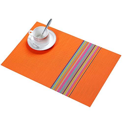 JEANNE PINK Table Mats Placemats Set of 6, Washable PVC Dining Place Mats Heat Resistant Kitchen Mats (Orange)