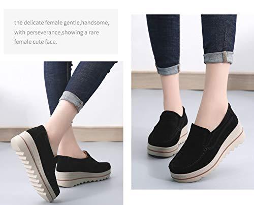 Cálido Piel Ancha Con Y Vaca Zapatos Algodón Plataforma Ante Mujer Cintura Negro Mocasines De Terciopelo Cuña Baja Comodidad Liangxie HwqvTOZ1