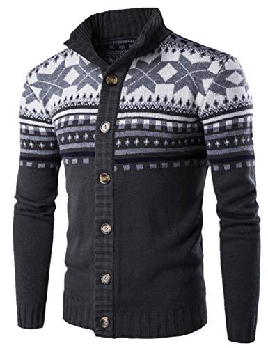 SUNFURA Men's Casual Slim Fit Button Closure Ugly Christmas Cardigan Sweater(Dark Grey,XXL) (Mens Business Casual Cardigan)