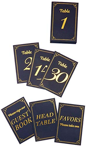 Gold Table Numbers 1-30 Plus 3 Useful Card Signs for Head Table, Guest Book Table, and Favors Table. Double-Sided, Easy to Read Lettering. Perfect for Any Occasion (Black and Gold)