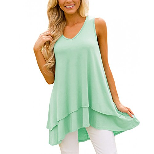 SSYUNO Plus Size Casual Sleeveless V-Neck Ruffle Layer Asymmetric Hem Tunic Swing Lace Flowy Tank Top for Women Green