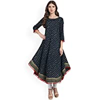 Amayra Women's Cotton Anarkali Kurti(Blue)
