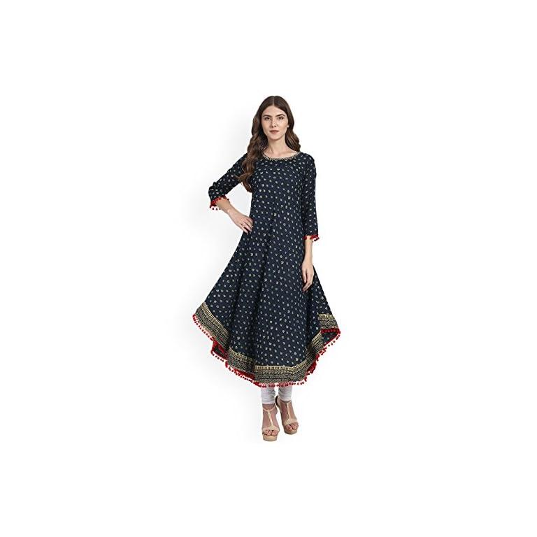 41gJ6GOxbaL. SS768  - Amayra Women's Cotton Anarkali Kurti (Blue)