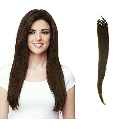 HairExtensionSale Micro Loop 100% Remy Human Hair Extensions Straight 100 Strands Per Pack Medium Brown (16 Inches) (Cornrows And Beads)