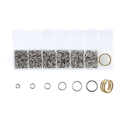 Ring Key Metallic (Pandahall Mixed Size 4-10mm Iron Open Jump Rings Nickel Free Platinum Plated Unsoldered Round Ring Connectors for Chainmail Jewelry Bracelet Necklace Making)