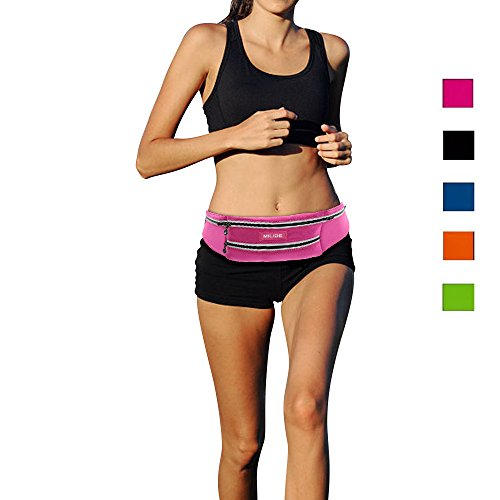 MILIDE Running Belt Waist pack for iphone x 8 7 plus With Reflective Strips Runner Workout | Waterproof Canvas |Phone Fanny Pack For Men,Women,Hiking Cycling,Travel,Workout,Sports Rose