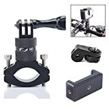 TEKCAM 360 Degree Action Camera Bike Handlebar Mount Aluminum Bicycle Adapter Mount Phone Clip Compatible for Gopro Hero 6 5 YI 4k Akaso Campark Crosstour 4k Camera for iPhone X 8 7 Samsung Phone