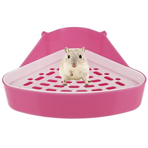 Hamster Potty Litter (Petacc Hamster Toilet Small Animal Potty Trainer Triangle Pet Litter Box for Hamster, Rabbit and Guinea Pig (Pink))