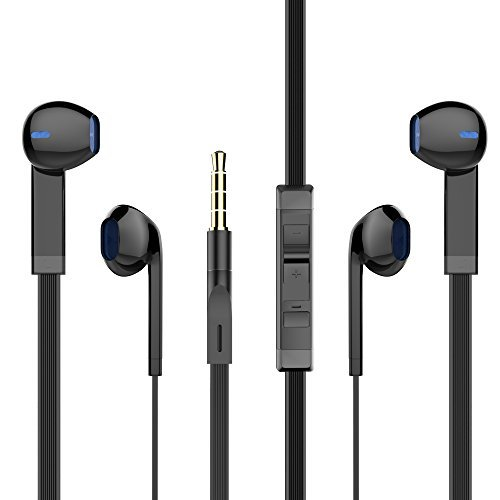 In Ear Headphones, PWOW Wired Earphones iPhone Earphones Earbuds with Microphone and Remote Control 2 Packs